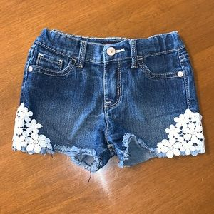 Jordache Lace & Denim Blue Jean Shorts 5T EUC